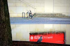 Taube vor dem Kleinen Haus und ein Damenrad