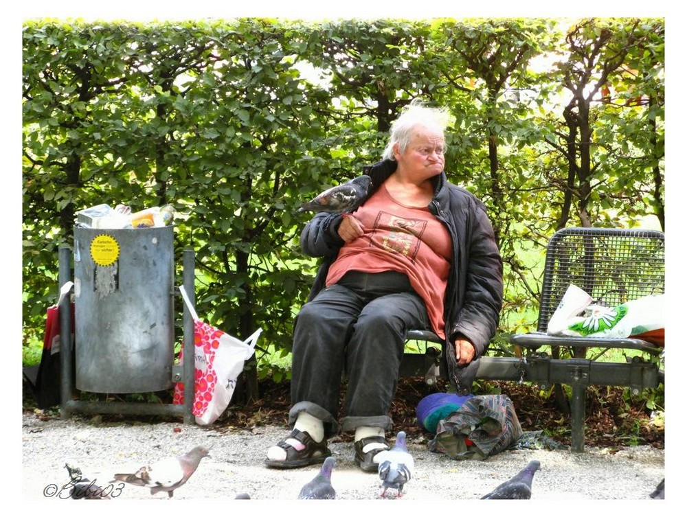 Tauben füttern im Park