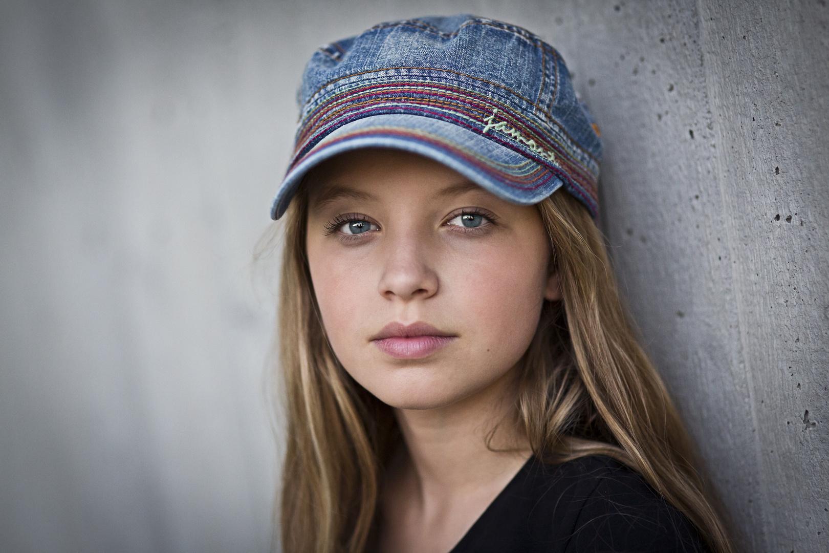 Teenage Girl with blue Eyes
