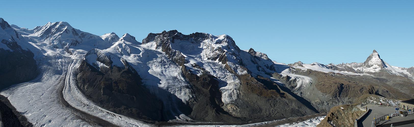 Teilpanorama Gletscher mit Matterhorn