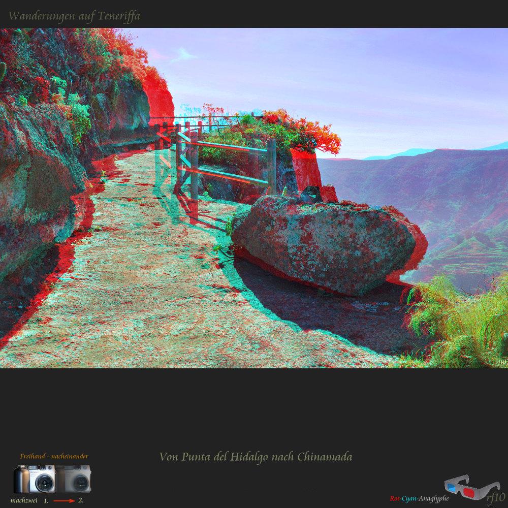 Teneriffa in 3D : Von Punta del Hidalgo nach Chinamada + VollHD Anaglyphe