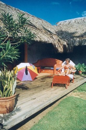 Terasse unseres Bungalows im Hotel Bahia Las Ballenas.