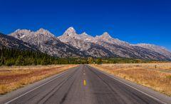 Teton Park Road am Windy Point, Wyoming, USA