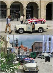 """Texans for Obama with old """"Trabi"""" in Dresden"""