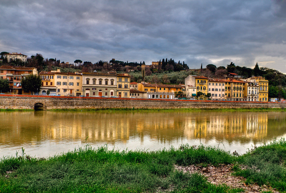 The Arno River in a stormy day