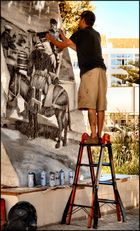 The artist working