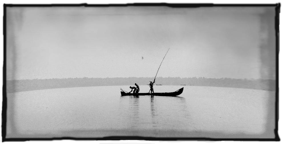 The backwaters of Kerala....................Fishermen at work