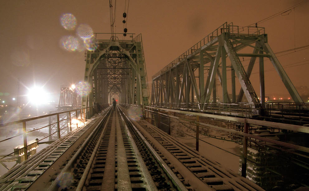 The bridge through the river Kotorosl in Yaroslavl