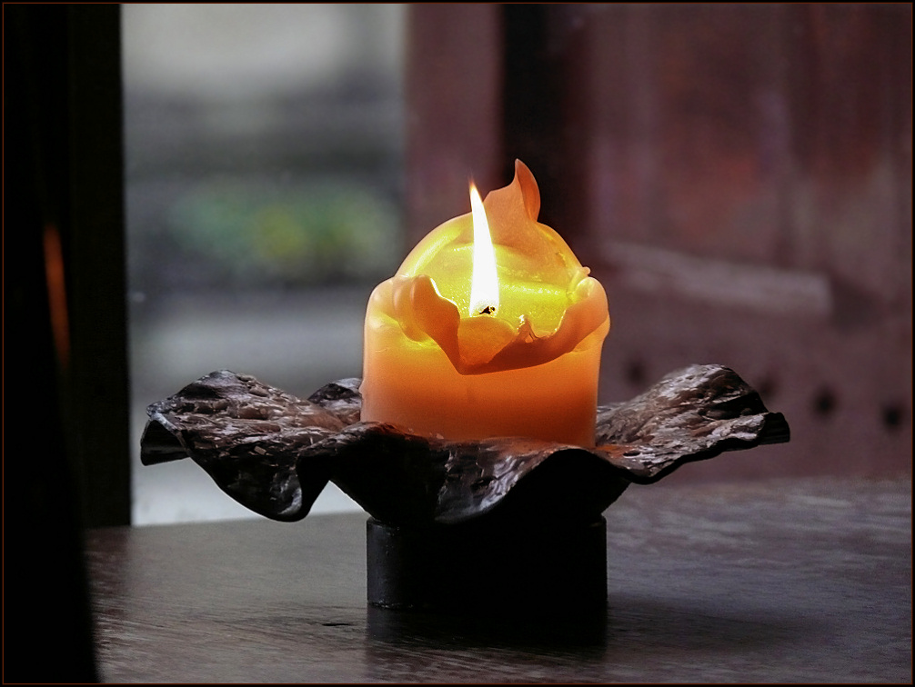 The candle on the table
