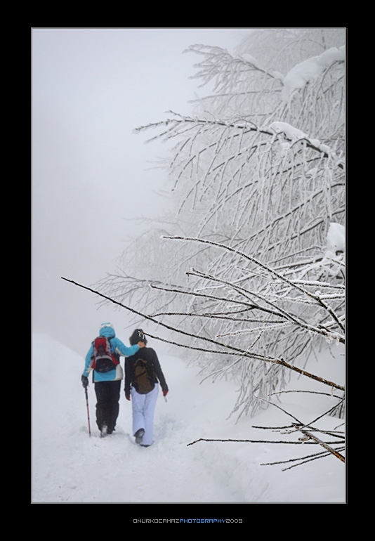 The couple are walking on the snowy way