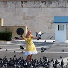 The girl and the pigeons