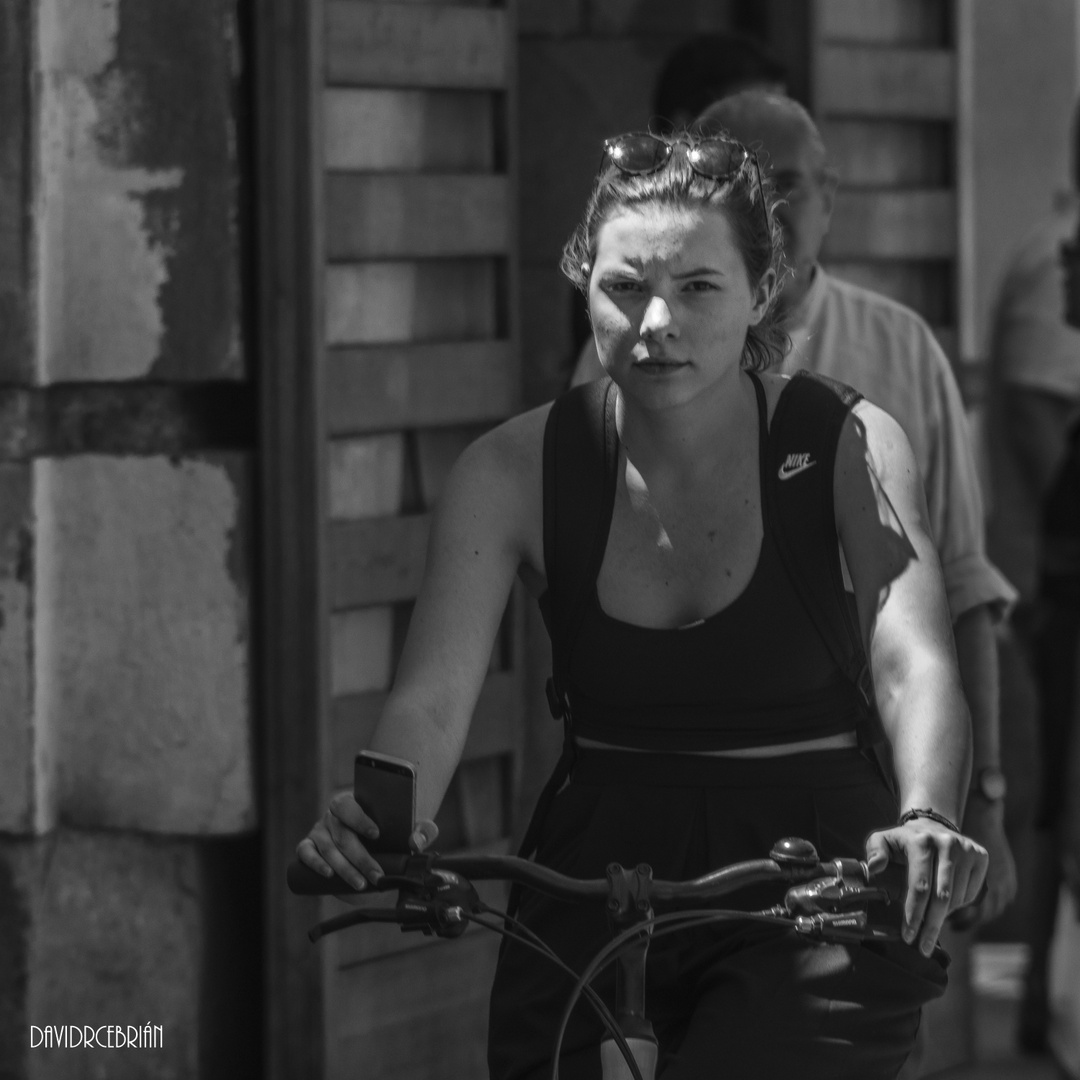 The girl cycling