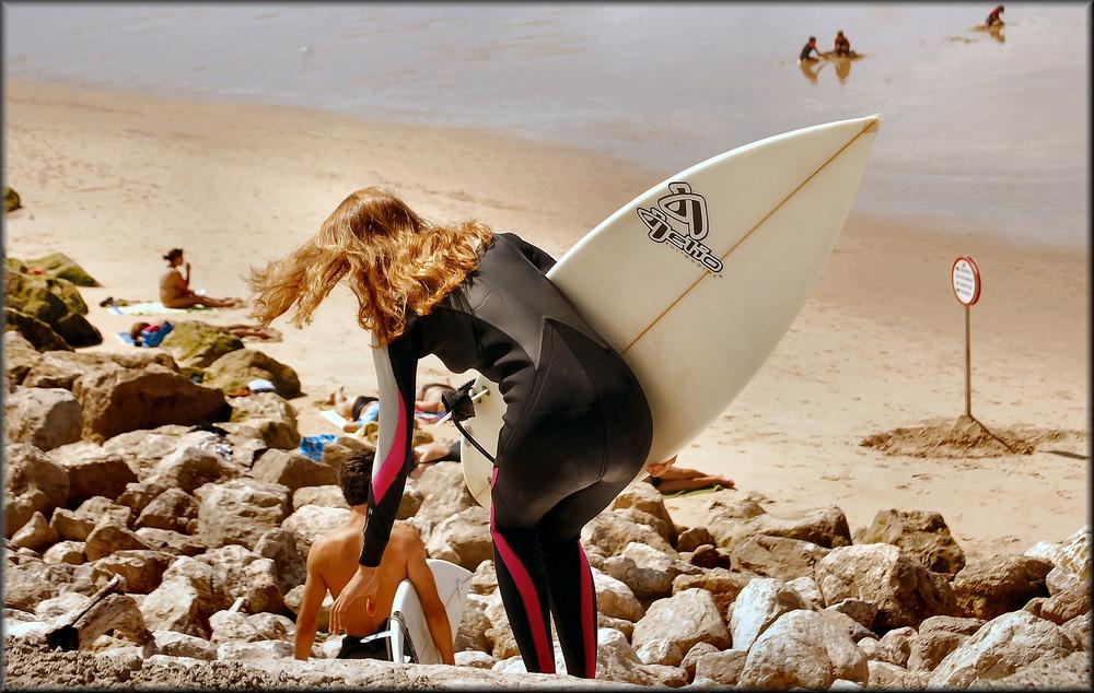 The girl surfer