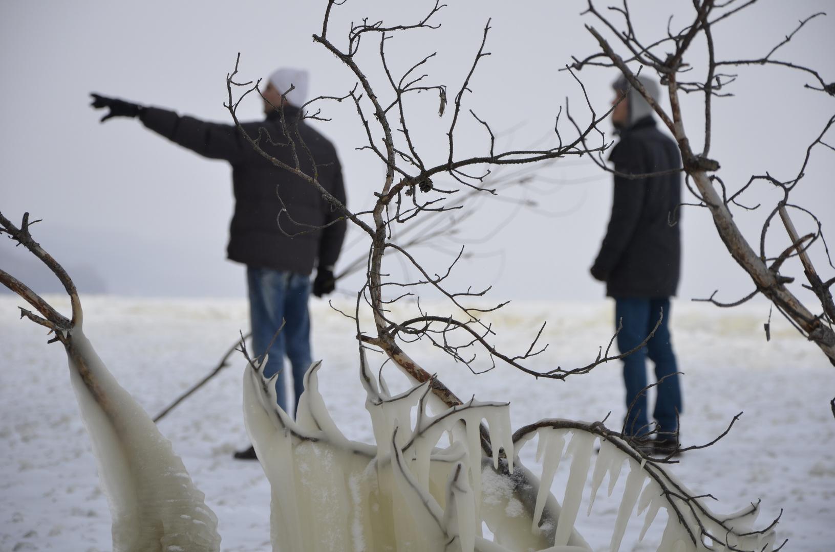The icy Dnipro near Hrebeny village, Ukraine