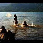 The kids in Da Mi lake (Binh Thuan, Vietnam)