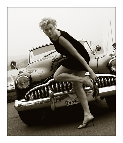 The Lady and the Oldtimer Car...