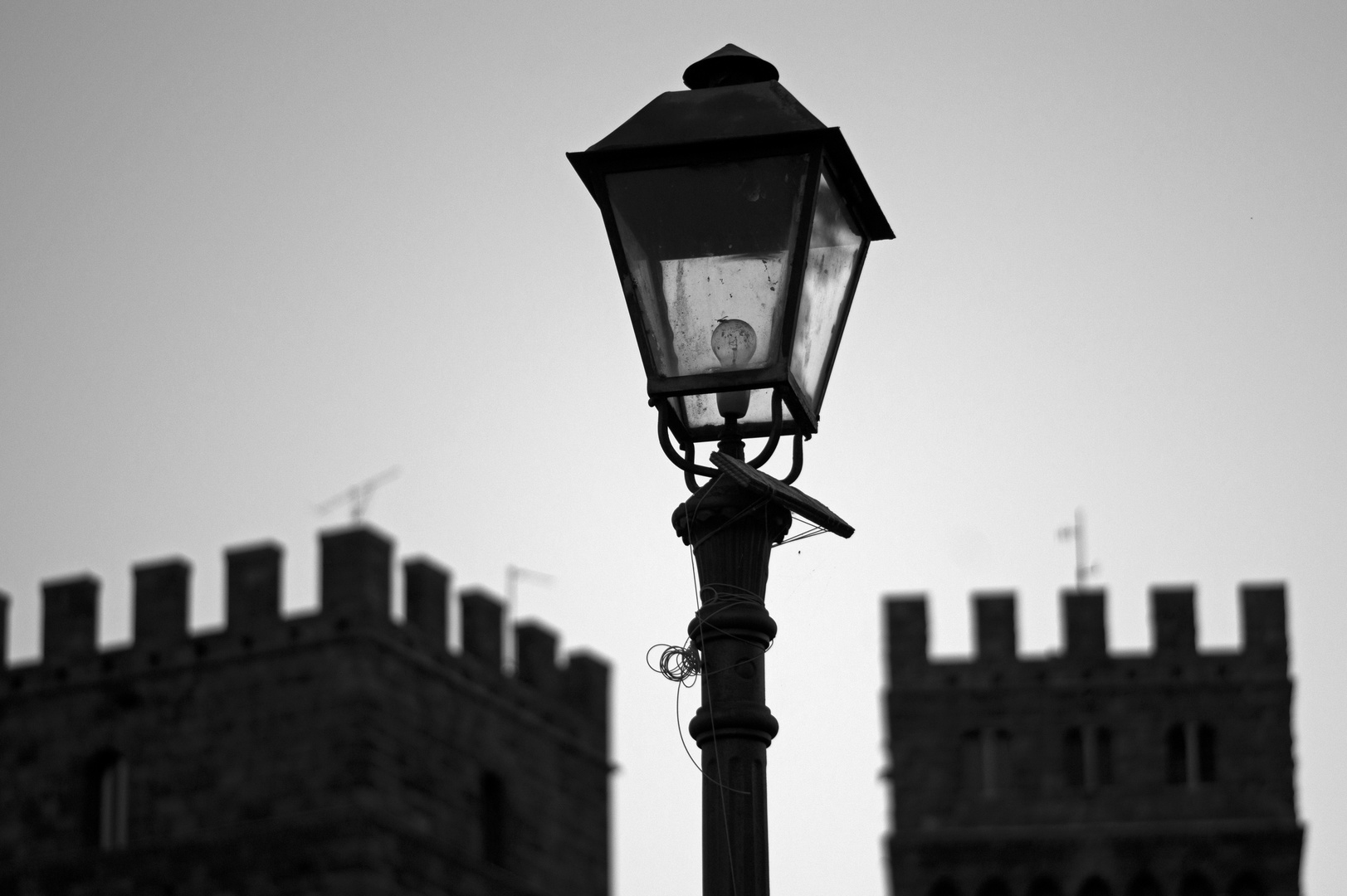 The lamppost in the middle of the castle