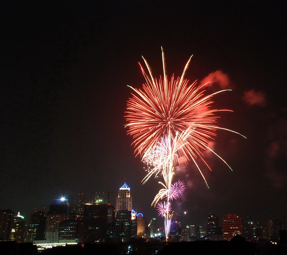The Night in Bangkok with fireworks 1