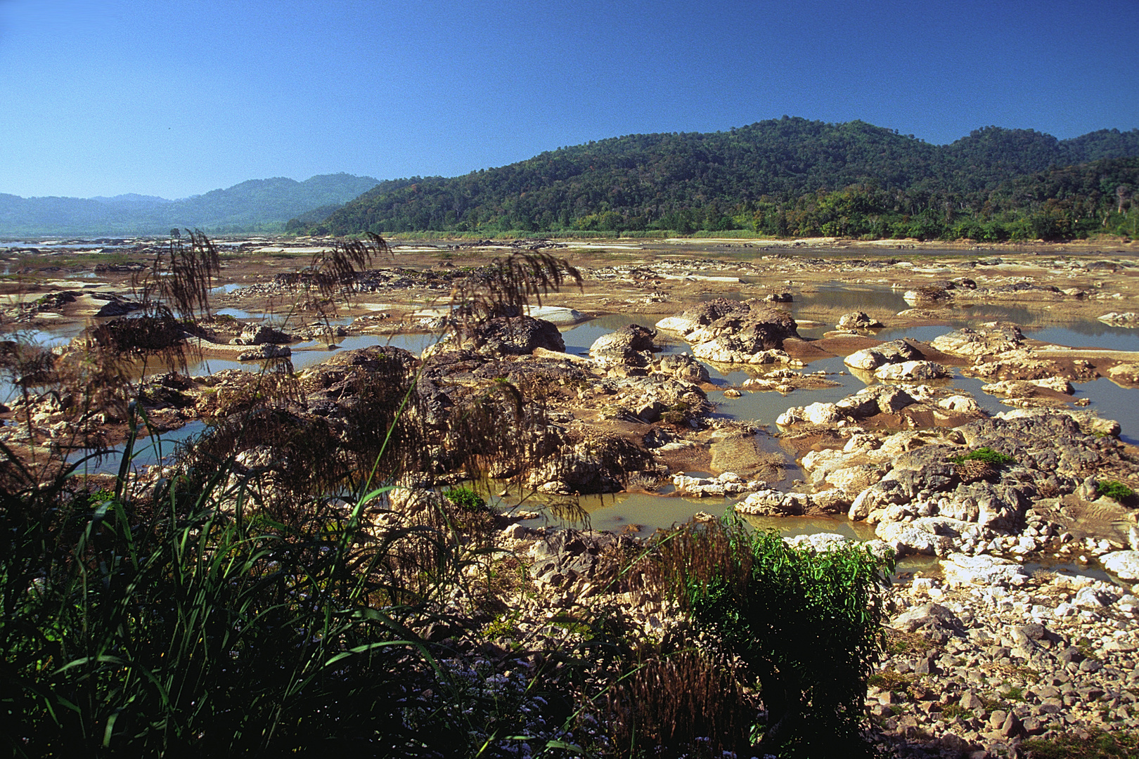 The parched river bed of the Mekong