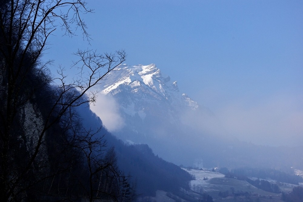 The Pilatus out of the clouds
