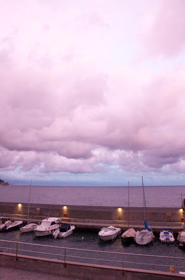 the pink sea and the boats