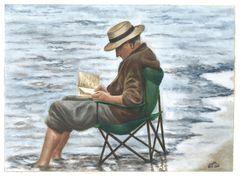 The Reader VII - Oil on Figueres paper (Nov. 14)