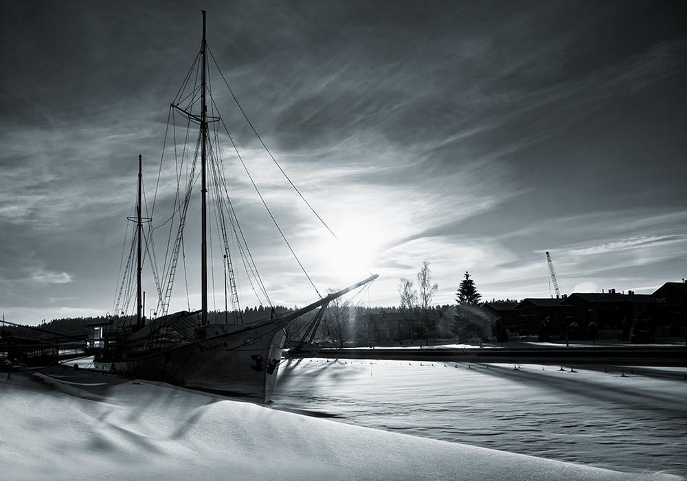 The river has frozen
