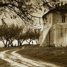 The road near the church.