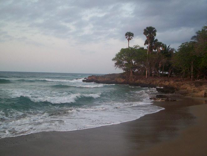 The sea crashing on the shore
