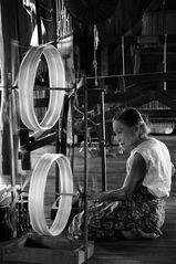 the spinning wheel, inle see, burma 2011