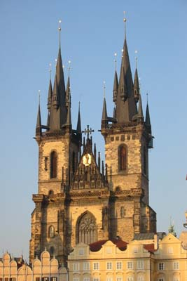 The Tyn Church in the Old Town Square of Prague