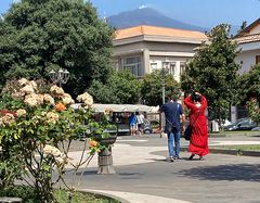 the volcano and the lady in red