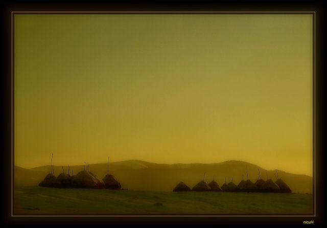 The winter sunset fog...
