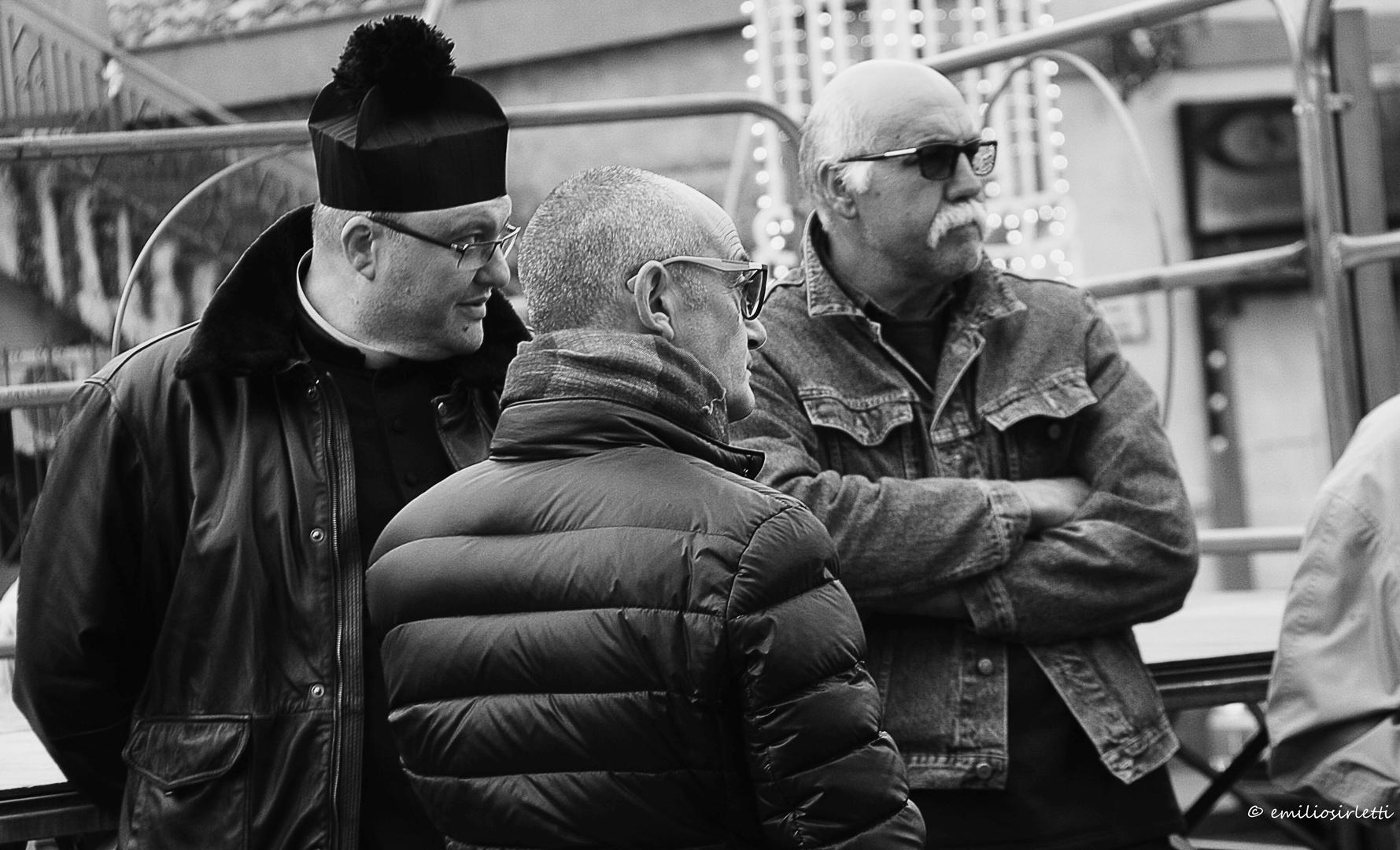 Three friends in the square
