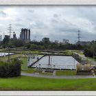 Thyssen-Steel mit Stahlwerk, Kokerei, Kraftwerke, Klärbecken -