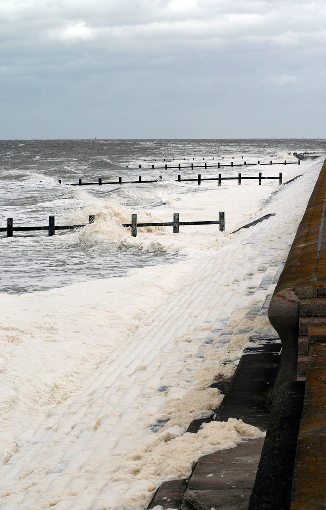 tide on the steps in Rhyl