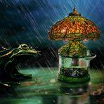 Tiffany-flaschenlampe mit integrierter Wettervorhersage, bei Schlechtwetter mit Traumblasengenerator