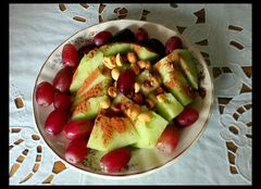 Today, melon and grapes.