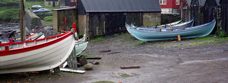 Traditionelle färöer Ruderboote