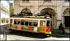 Tram 28 in old Lisbon city