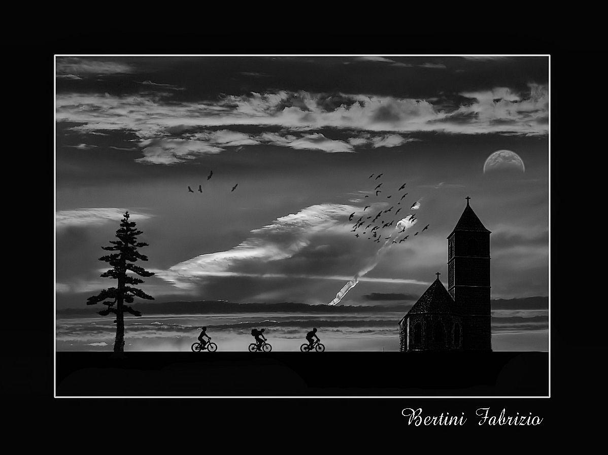 tramonto in b/n