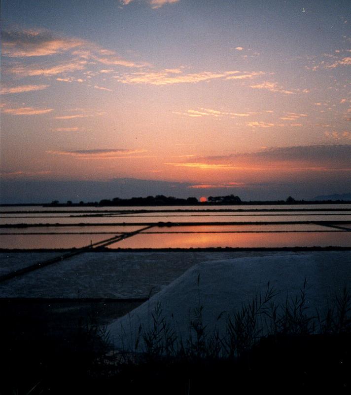 tramonto sullo stagnone di Marsala