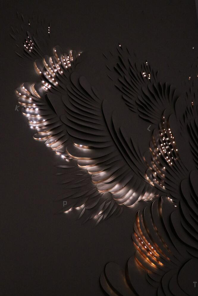Translucent no cotton leather carving——Wings