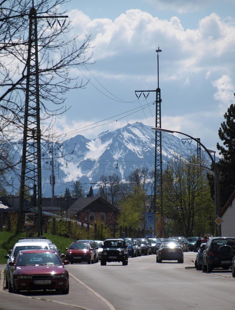 Traunstein, Frühjahr 2009, Blick zum Hochfelln