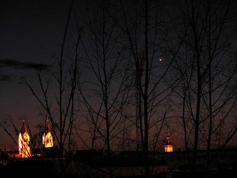 Treffen der inneren Planeten (Venus - Merku) am 02.04.2010