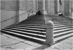 Treppe mit Pfosten