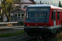 Triebwagen in Tauberbischofsheim Rückansicht