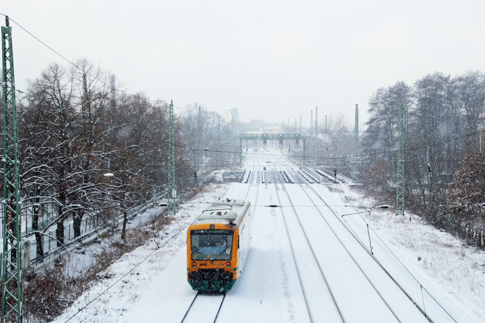 Trotz Schnee und Eis immer pünktlich: ODEG Cotttbus - Forst