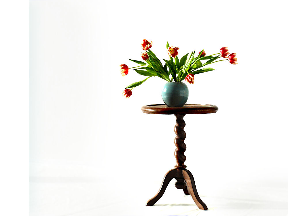 Tulips in vase on table