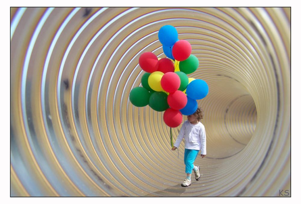 Tunnel zur Rettung der Ballons